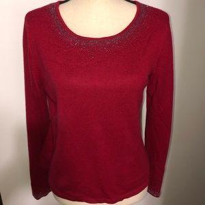 Talbots silk cashmere red sweater Size M